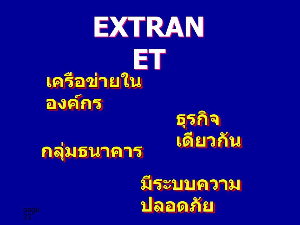 EXTRANET เครือข่ายในองค์กร ธุรกิจเดียวกัน กลุ่มธนาคาร