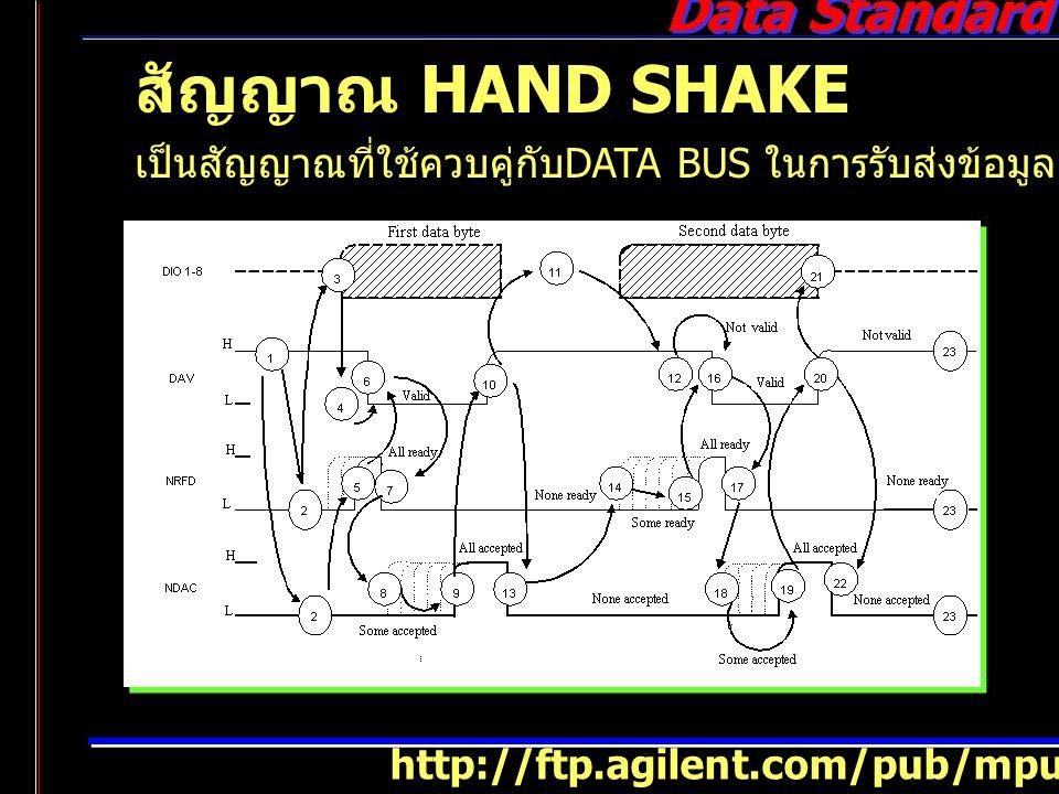 สัญญาณ HAND SHAKE เป็นสัญญาณที่ใช้ควบคู่กับDATA BUS ในการรับส่งข้อมูล มีสายสัญญาณ.