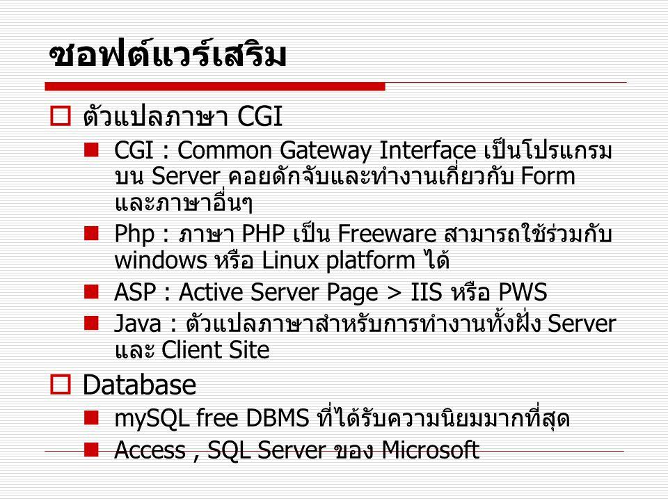 ซอฟต์แวร์เสริม ตัวแปลภาษา CGI Database