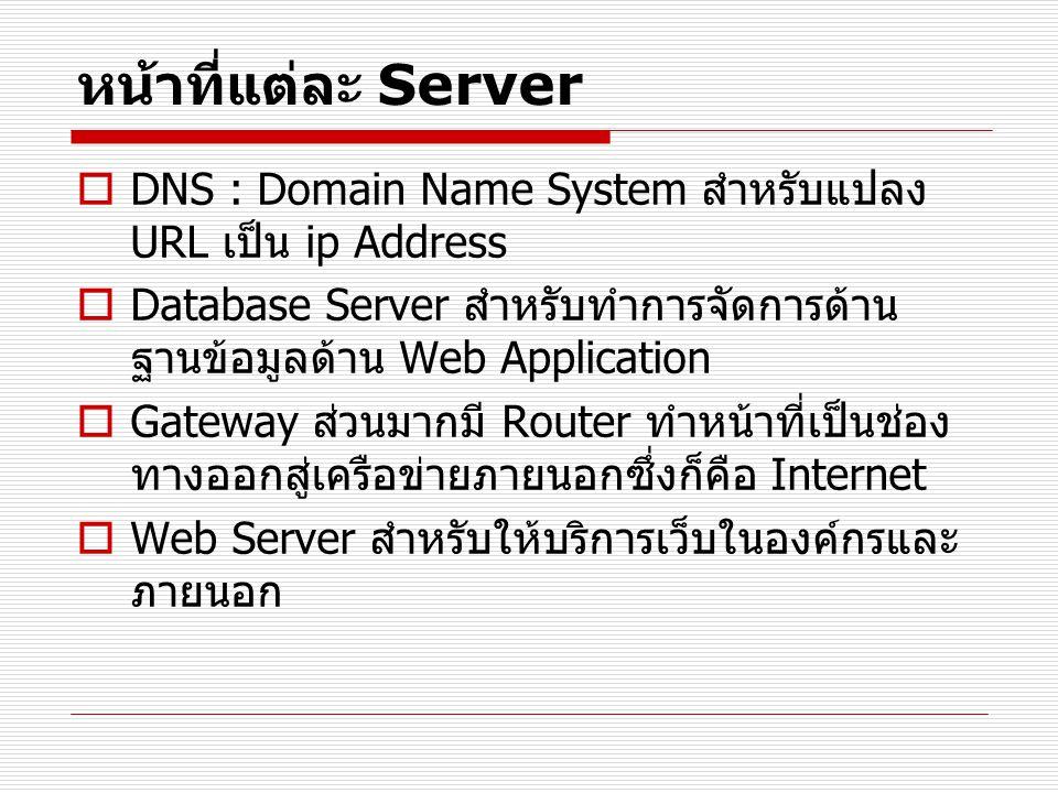หน้าที่แต่ละ Server DNS : Domain Name System สำหรับแปลง URL เป็น ip Address. Database Server สำหรับทำการจัดการด้านฐานข้อมูลด้าน Web Application.