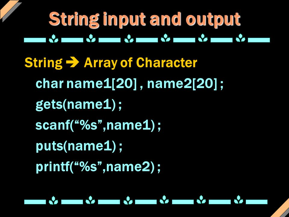 String input and output