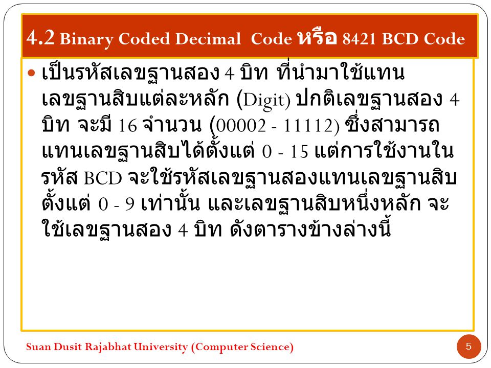 4.2 Binary Coded Decimal Code หรือ 8421 BCD Code