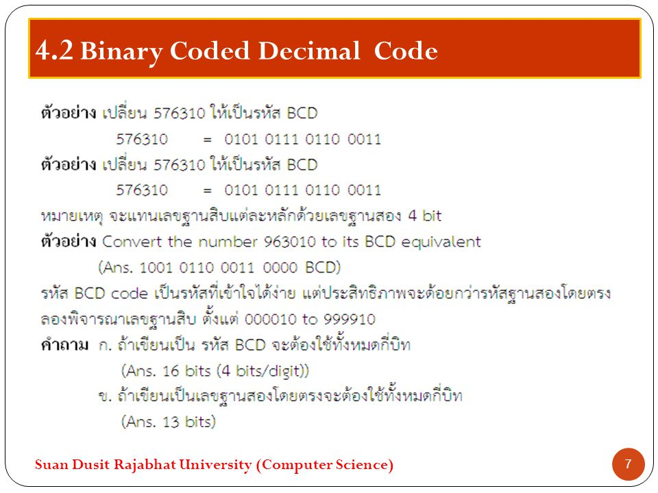 4.2 Binary Coded Decimal Code