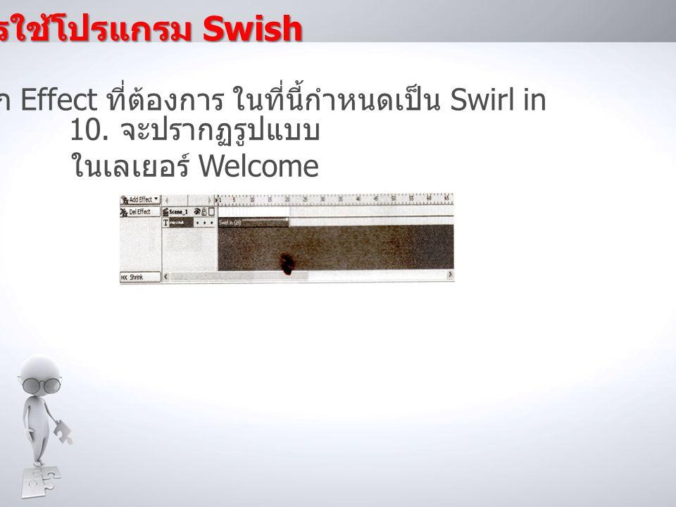 การใช้โปรแกรม Swish 9. เลือก Effect ที่ต้องการ ในที่นี้กำหนดเป็น Swirl in.