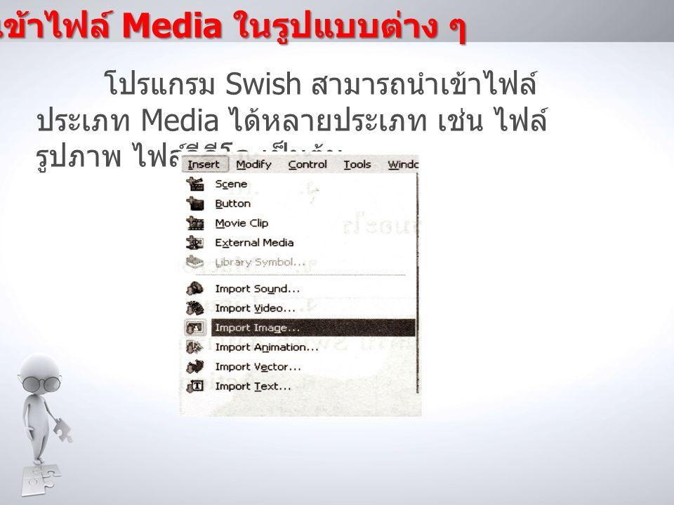 การนำเข้าไฟล์ Media ในรูปแบบต่าง ๆ
