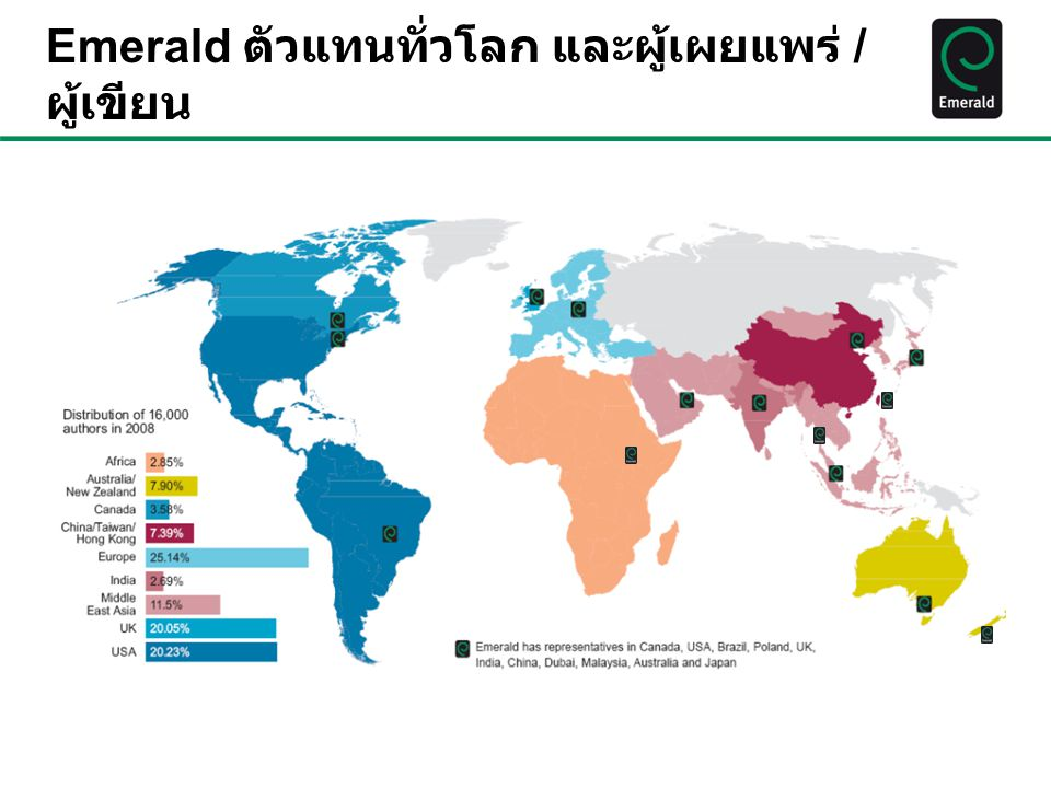 Emerald ตัวแทนทั่วโลก และผู้เผยแพร่ /ผู้เขียน