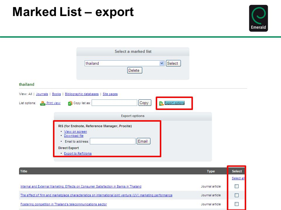 Marked List – export