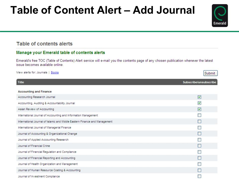 Table of Content Alert – Add Journal