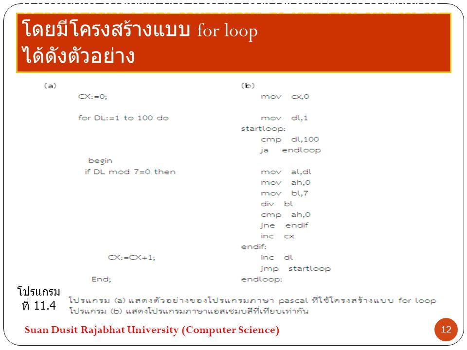 เราสามารถเขียนโปรแกรมโดยใช้ภาษาแอสเซมบลีโดยมีโครงสร้างแบบ for loop ได้ดังตัวอย่าง