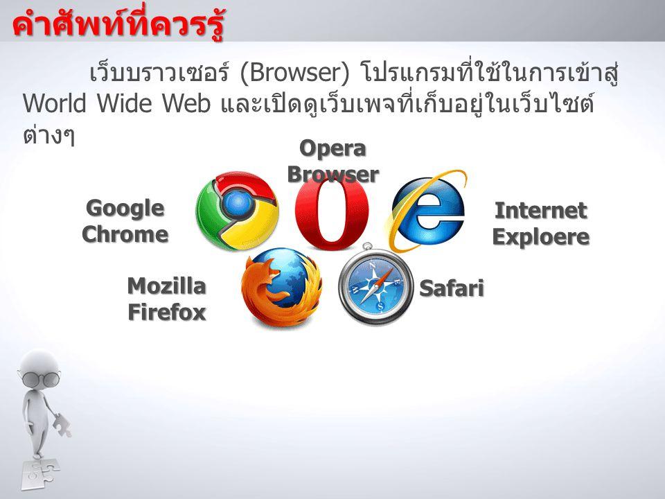 คำศัพท์ที่ควรรู้ เว็บบราวเซอร์ (Browser) โปรแกรมที่ใช้ในการเข้าสู่ World Wide Web และเปิดดูเว็บเพจที่เก็บอยู่ในเว็บไซต์ต่างๆ.