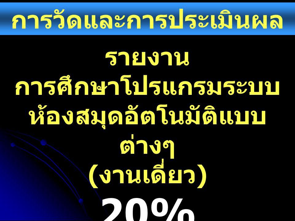 20% การวัดและการประเมินผล รายงาน
