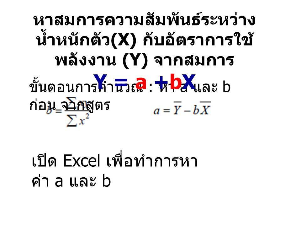 เปิด Excel เพื่อทำการหาค่า a และ b