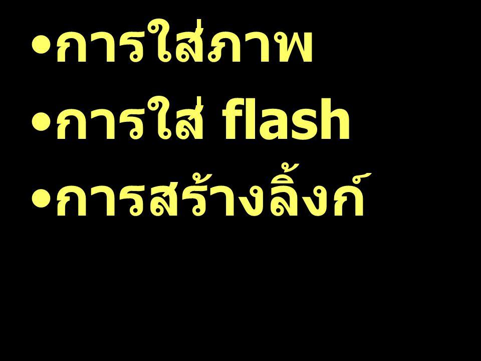 การใส่ภาพ การใส่ flash การสร้างลิ้งก์