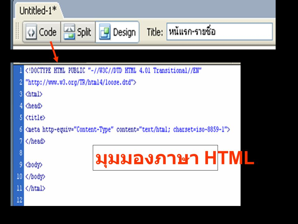 มุมมองภาษา HTML