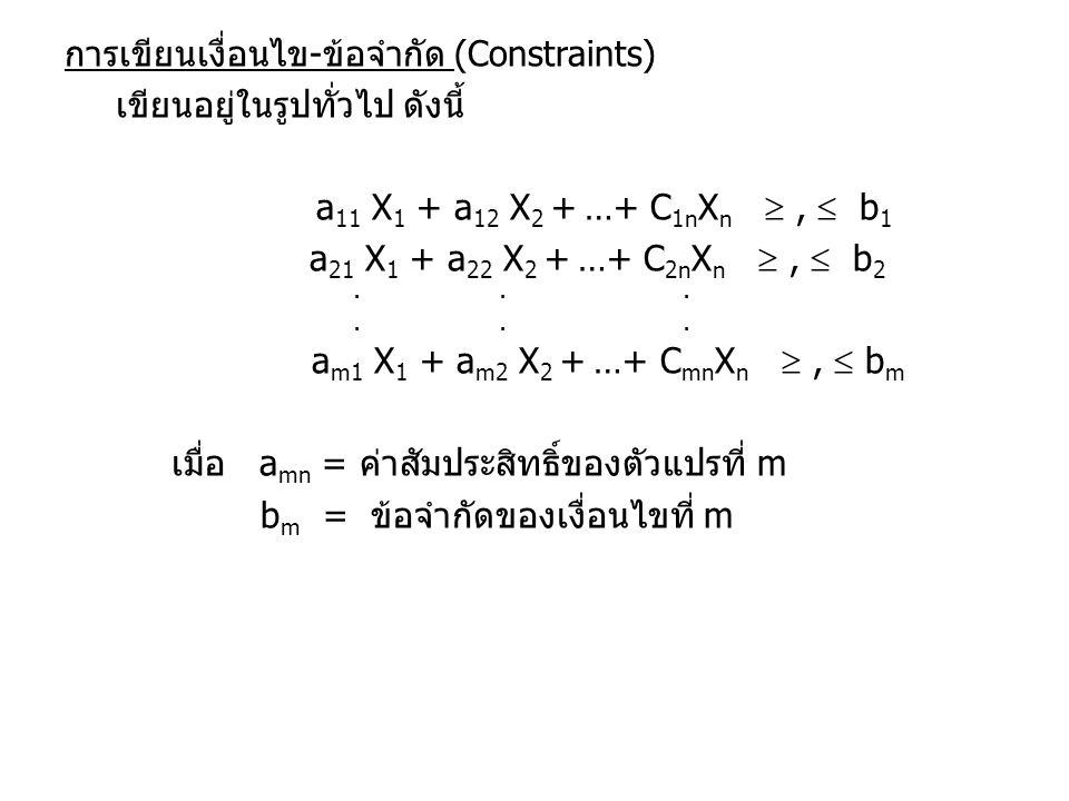 การเขียนเงื่อนไข-ข้อจำกัด (Constraints) เขียนอยู่ในรูปทั่วไป ดังนี้ a11 X1 + a12 X2 + …+ C1nXn  ,  b1 a21 X1 + a22 X2 + …+ C2nXn  ,  b2 am1 X1 + am2 X2 + …+ CmnXn  ,  bm เมื่อ amn = ค่าสัมประสิทธิ์ของตัวแปรที่ m bm = ข้อจำกัดของเงื่อนไขที่ m