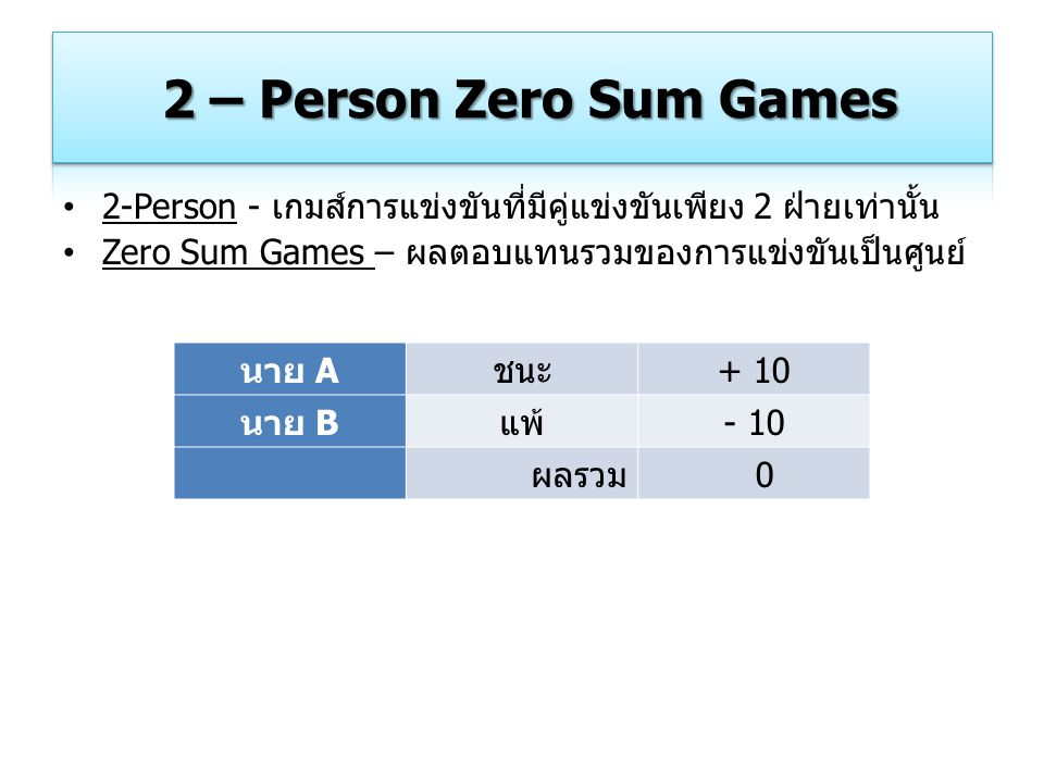 2 – Person Zero Sum Games 2-Person - เกมส์การแข่งขันที่มีคู่แข่งขันเพียง 2 ฝ่ายเท่านั้น. Zero Sum Games – ผลตอบแทนรวมของการแข่งขันเป็นศูนย์