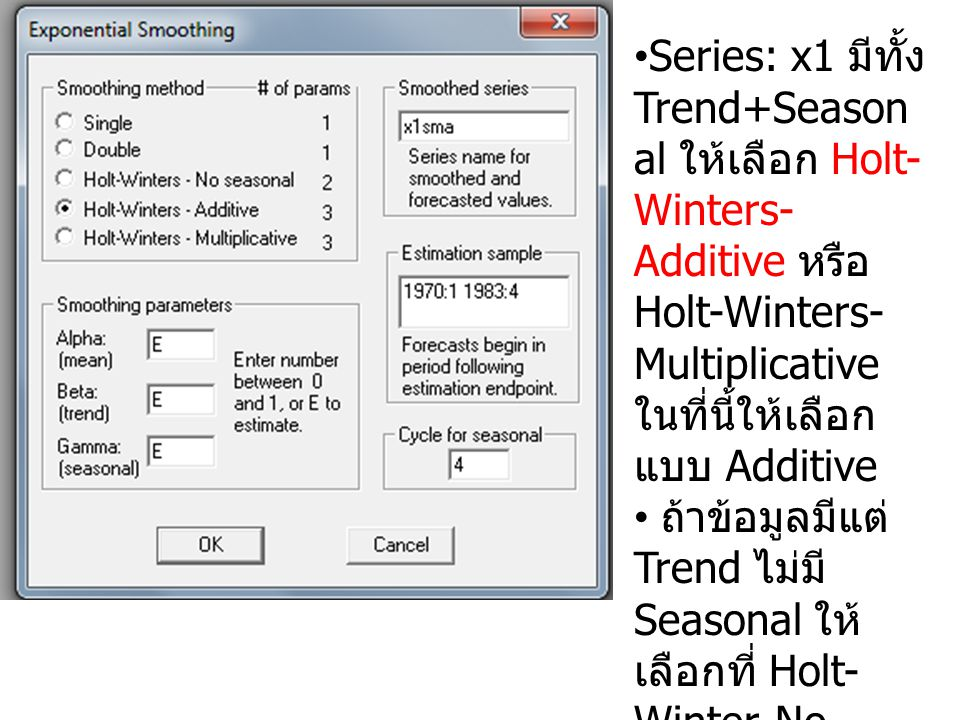 Series: x1 มีทั้ง Trend+Seasonal ให้เลือก Holt-Winters-Additive หรือ Holt-Winters-Multiplicative ในที่นี้ให้เลือกแบบ Additive
