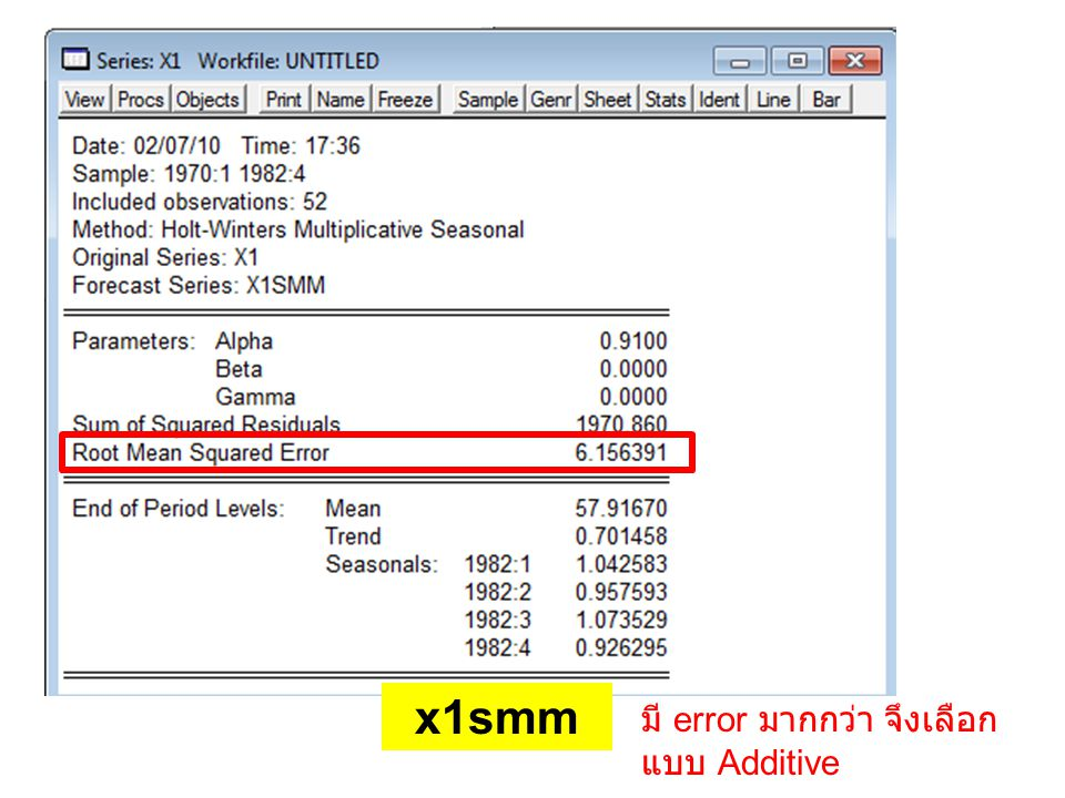 x1smm มี error มากกว่า จึงเลือกแบบ Additive
