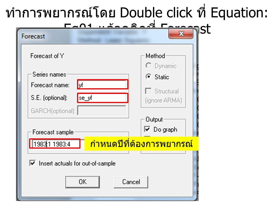 ทำการพยากรณ์โดย Double click ที่ Equation: Eq01 แล้วคลิกที่ Forecast