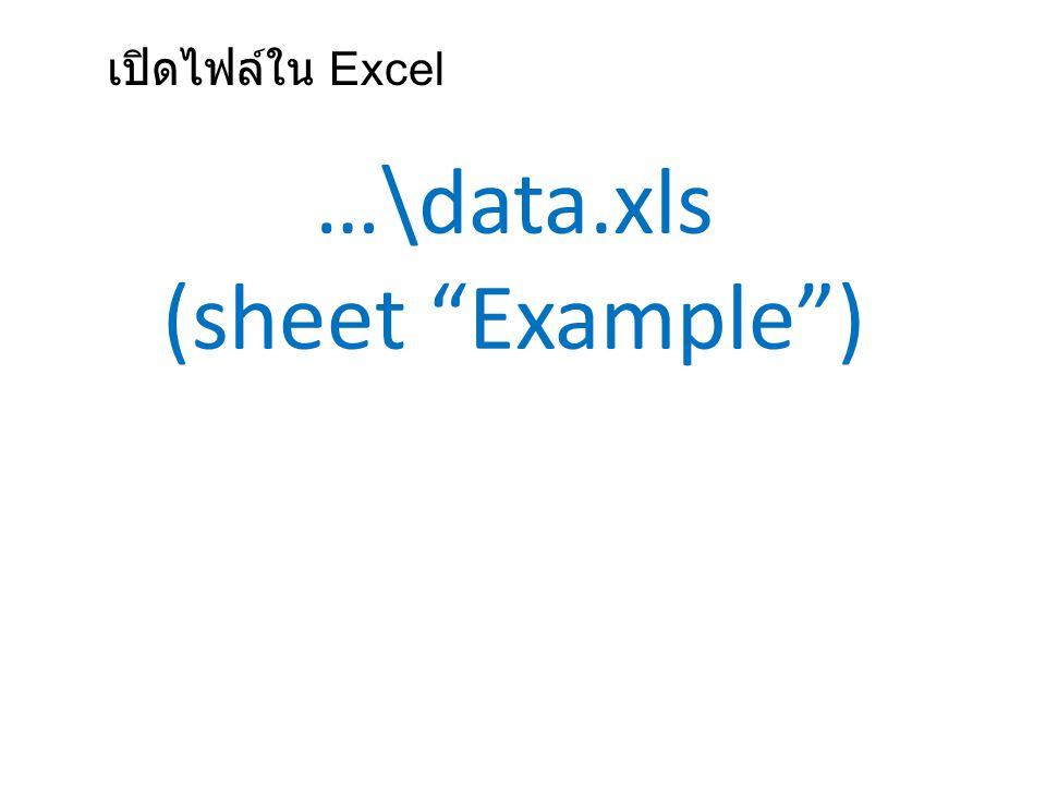 เปิดไฟล์ใน Excel …\data.xls (sheet Example )