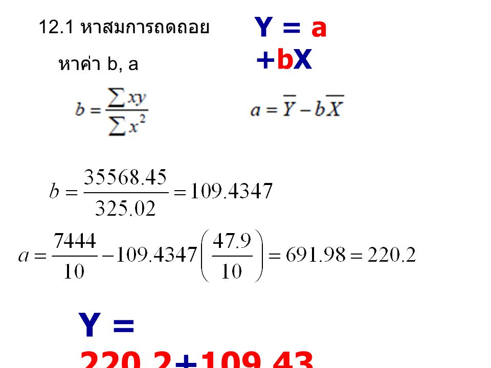Y = a +bX 12.1 หาสมการถดถอย หาค่า b, a Y = 220.2+109.43X