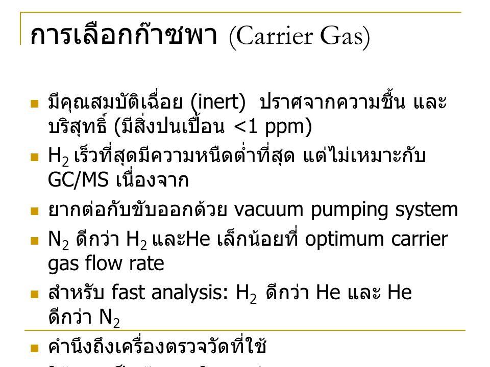 การเลือกก๊าซพา (Carrier Gas)