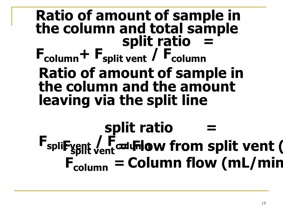 Ratio of amount of sample in the column and total sample