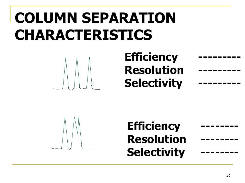 COLUMN SEPARATION CHARACTERISTICS