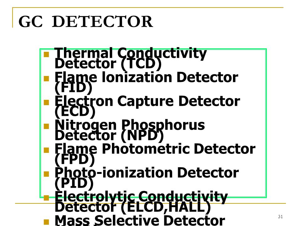 GC DETECTOR Thermal Conductivity Detector (TCD)
