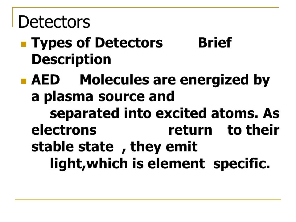 Detectors Types of Detectors Brief Description