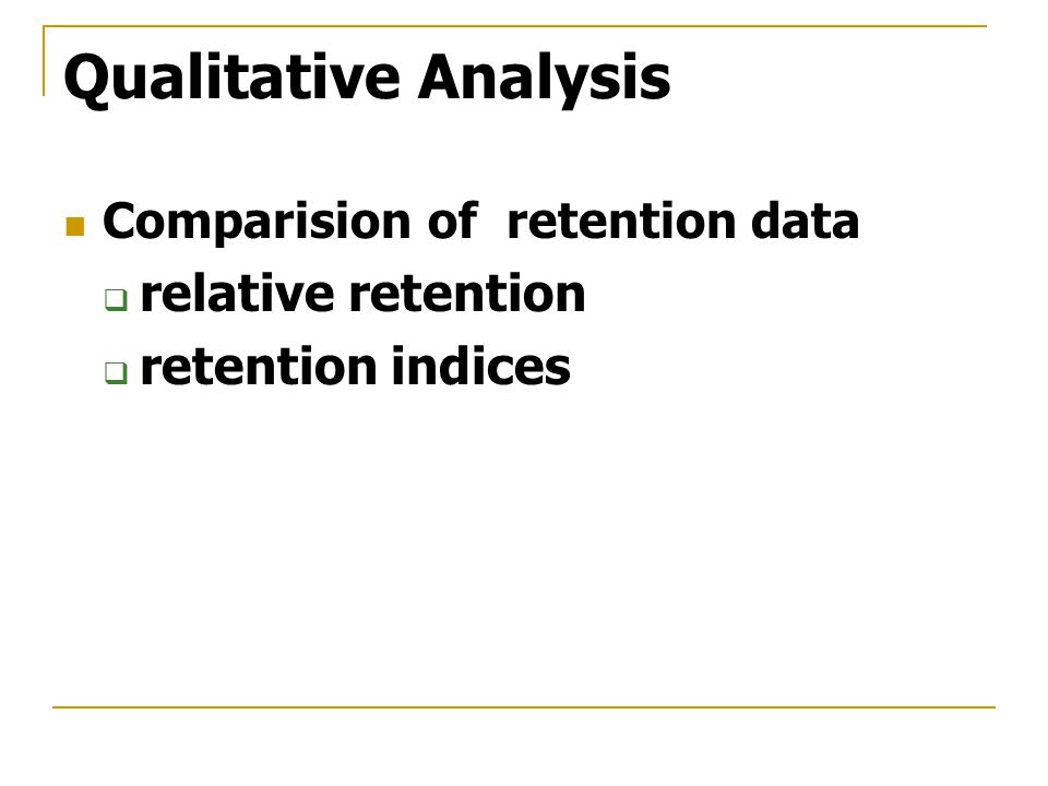 Qualitative Analysis relative retention retention indices