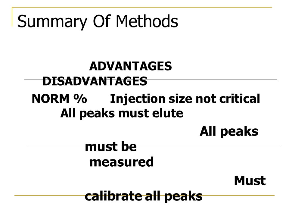 Summary Of Methods ADVANTAGES DISADVANTAGES All peaks must be measured