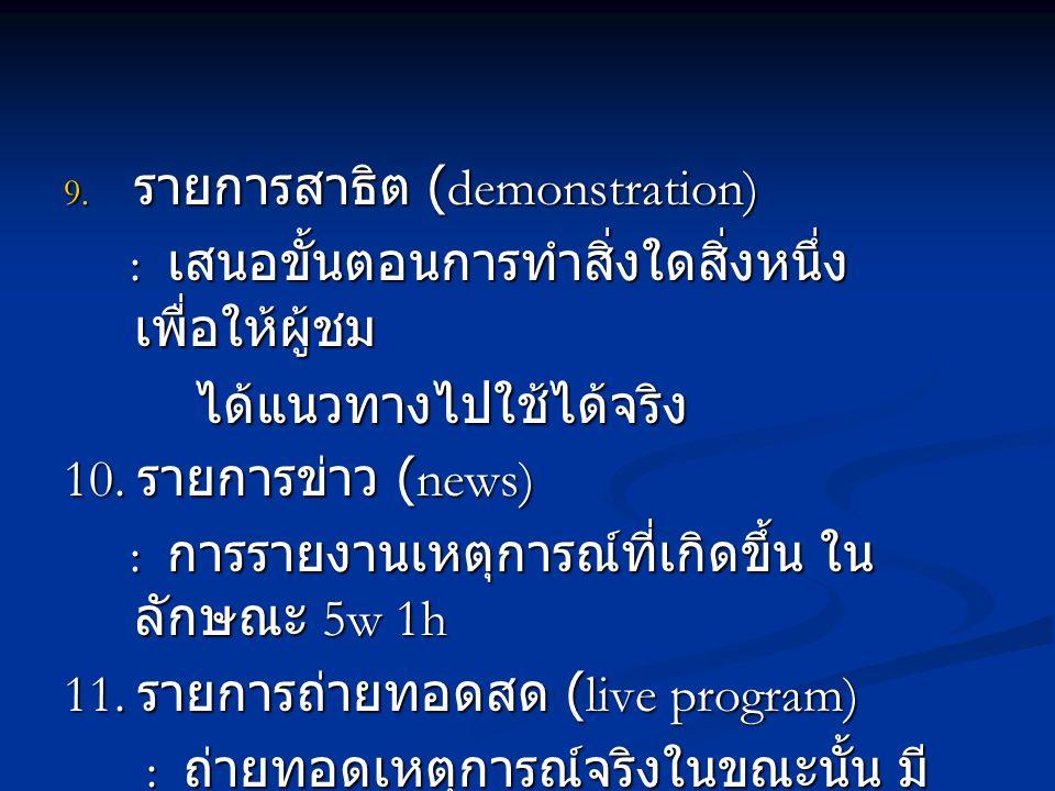 รายการสาธิต (demonstration)