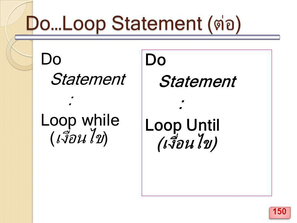 Do…Loop Statement (ต่อ)