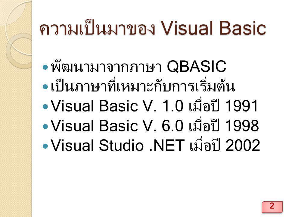 ความเป็นมาของ Visual Basic