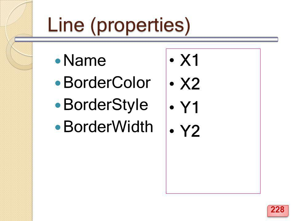 Line (properties) Name BorderColor BorderStyle BorderWidth X1 X2 Y1 Y2