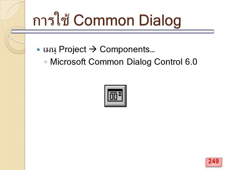 การใช้ Common Dialog เมนู Project  Components…