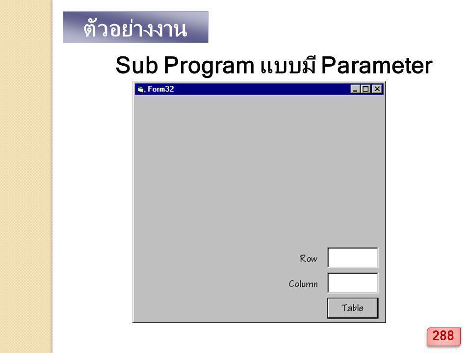 ตัวอย่างงาน Sub Program แบบมี Parameter