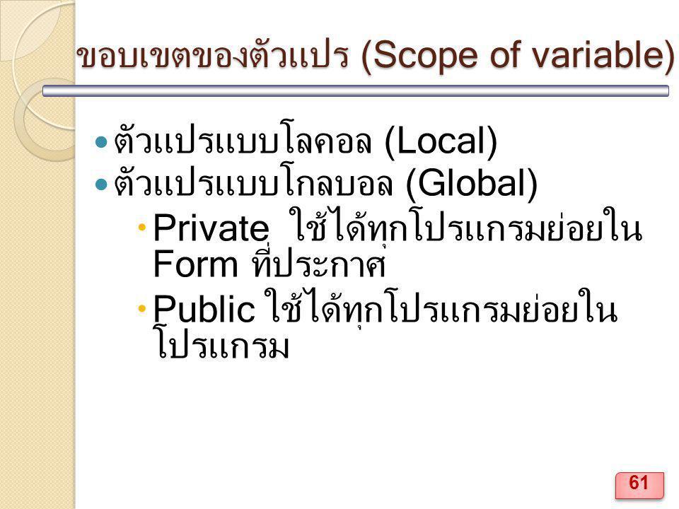ขอบเขตของตัวแปร (Scope of variable)