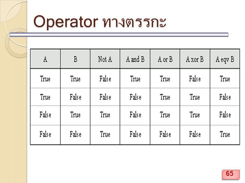 Operator ทางตรรกะ