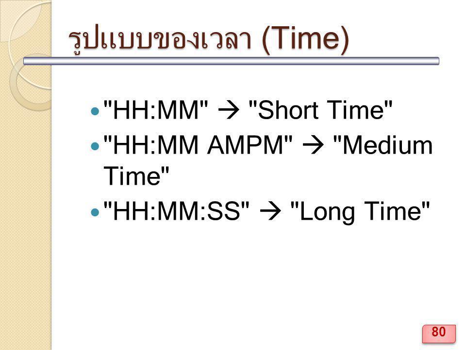 รูปแบบของเวลา (Time) HH:MM  Short Time