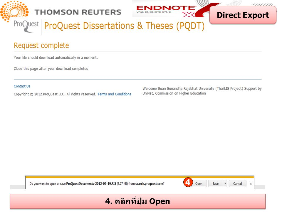 Direct Export 4 4. คลิกที่ปุ่ม Open