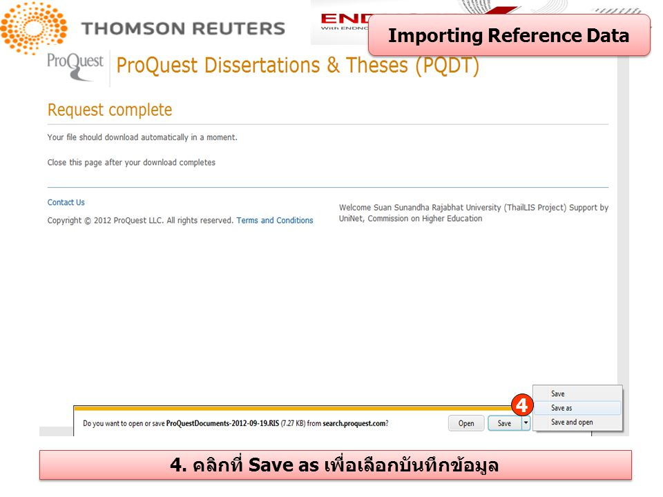Importing Reference Data 4. คลิกที่ Save as เพื่อเลือกบันทึกข้อมูล
