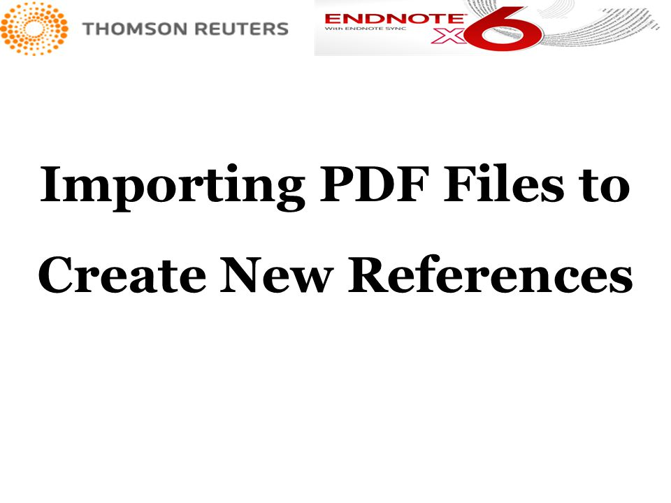Importing PDF Files to Create New References