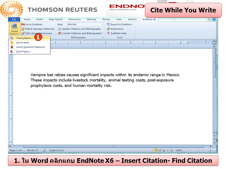 1. ใน Word คลิกแถบ EndNote X6 – Insert Citation- Find Citation
