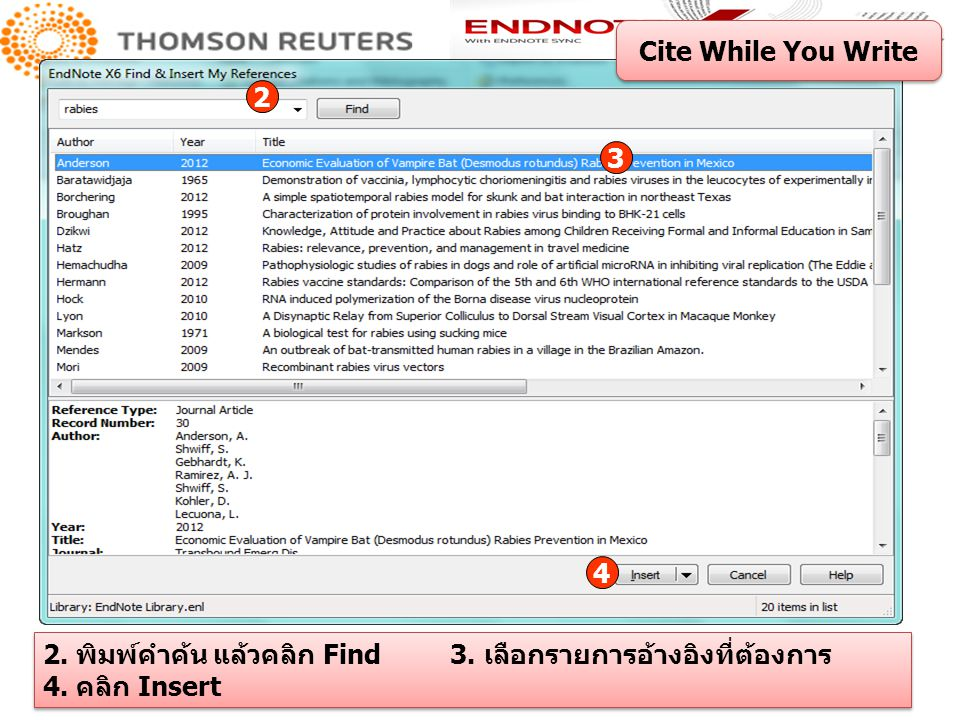 Cite While You Write 2. 3. 4. 2. พิมพ์คำค้น แล้วคลิก Find 3.