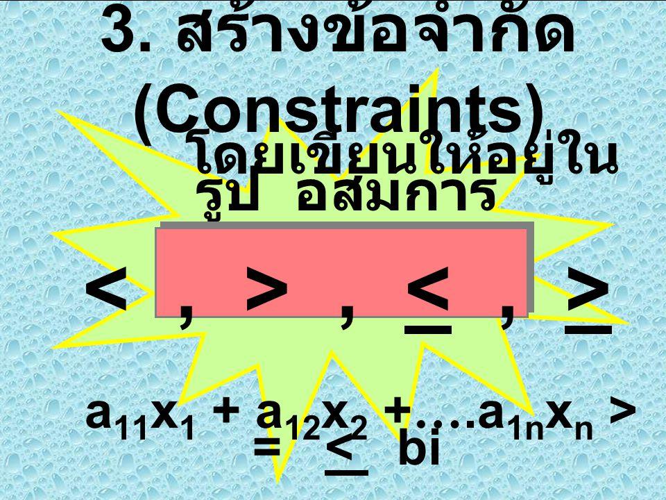 3. สร้างข้อจำกัด (Constraints)