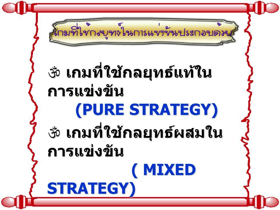 เกมที่ใช้กลยุทธ์แท้ในการแข่งขัน (PURE STRATEGY)