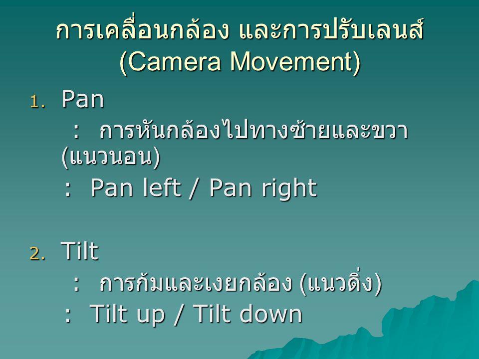 การเคลื่อนกล้อง และการปรับเลนส์ (Camera Movement)