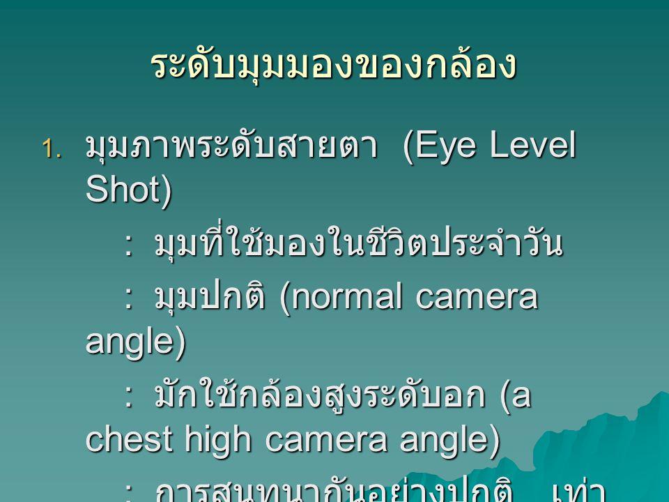 ระดับมุมมองของกล้อง มุมภาพระดับสายตา (Eye Level Shot)